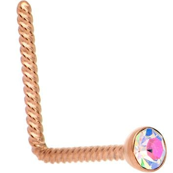 Aurora 2mm Gem Inlay Rose Gold IP So Twisted L Shaped Nose Ring