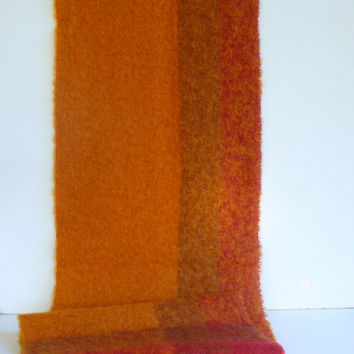 Vintage Wool Plaid Blanket Throw Scarf Table Runner Ombre Mohair Fringed Wrap Shawl