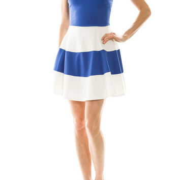 Colorblock Dress Strapless in Blue and White