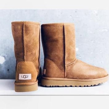 One-nice™ UGG Short boots antiskid warm lazy sheep fur simple ugg boots canister boots Brown