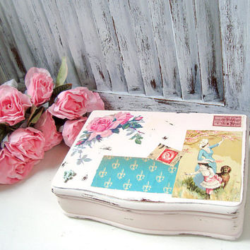 Pink Vintage Jewelry Box, Vintage Art, and Stamps, Valentines Gift for Wife, Shabby Chic Jewelry Chest,  Small Jewelry Box with Fleur de Lis
