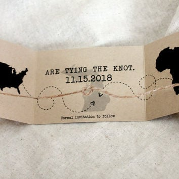 Tying the Knot Save the Date destination wedding set of 25, Eloping,  knot Wedding Announcement, Tying Knot Announcement, knot Invitation