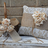 SET OF Ring Bearer Pillow & Flower Girl Basket - Rustic Burlap Ring Bearer Pillow - Burlap Flower Girl Basket