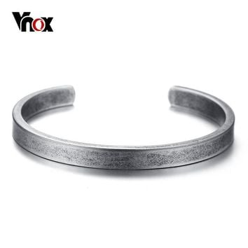 Vnox Vintage Viking Cuff Bracelets Bangles for Men Women Simple Classic Pulseras hombre Stainless Steel Male Jewelry