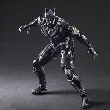 """action 27CM Anime Figure Marvel Avengers Black Panther Super Hero PVC 10.63"""" Collection Hobby Play arts Kai Doll Best toy gift"""