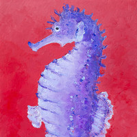 Seahorse Painting On Red Background