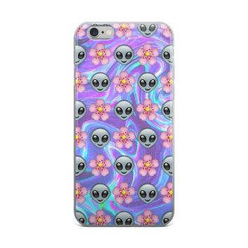 Alien & Flower Emoji Collage Teen Girls Tie Dye Purple Pink & Sky Blue iPhone 4 4s 5 5s 5C 6 6s 6 Plus 6s Plus 7 & 7 Plus  Case