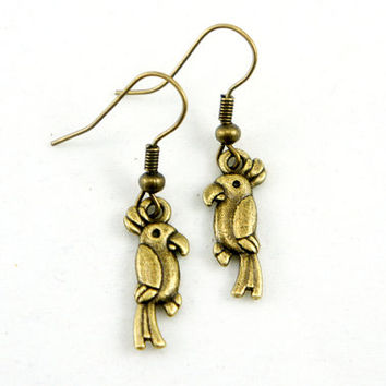 Parrot Earrings - Antiqued Brass Vintage Style Parrot Bird Dangle Earrings - Bridesmaids Gifts Idea - CP018