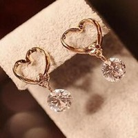 Hanging Diamond Heart Earrings