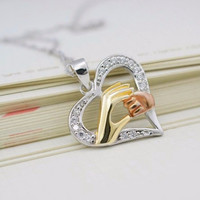 2016 New Mother Day Gift Mother Baby Heart Pendant Mom Daughter Son Child Family Love Cubic Zirconia 925 3colour Necklace
