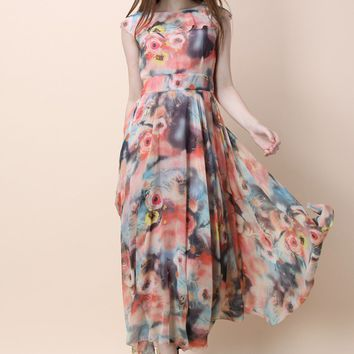 Floral Fantasy Chiffon Maxi Dress