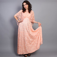 1970s Dramatic Peach LACE DRESS/ Attached Sheer Cape & Flowy Full Skirt, s-m