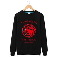 Popular 2016Autumn And Winter Games of Thrones A Song of Ice and Fire blood  Round neck plus warm cashmere  coat