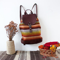Boho backpack, handmade of suede leather and unique colorful handwoven textile
