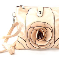 * Small Cell Phone Flower Apricot Fashion Handbag