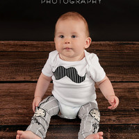 LITTLE MISTER MOUSTACHE-2pc Onesuit and leg warmer set-White, Red or Black-3/6,6/12,12/18,18/24 mo-Long or Short sleeve-you pick applique