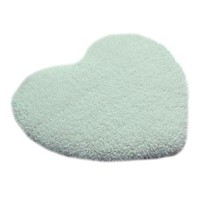 Solid Color Thick Fluff Heart Door Ground Foot Mat Carpet  milk white 40*50cm