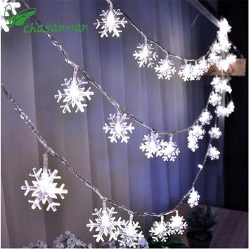 CHASANWAN 3 M 20 Light String Battery Box Snowflake LED New Year Christmas Decorations for Home New Year's Ornaments Navidad.