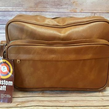 Vintage Vinyl Custom Craft Bag - Carry On Luggage - Overnight Bag - NWT - Peter's Bag Corp - Bantam Travel - Brown Tan Vinyl - Faux Leather