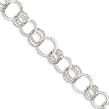 925 Sterling Silver Polished and Textured Circle Link Bracelet