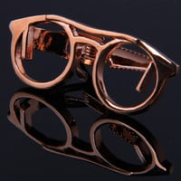 Rose Gold Plated Eyeglasses Tie Clip