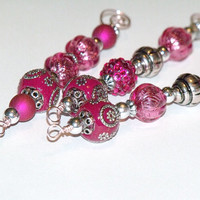 Hot Pink and Silver Icicle Ornaments - vintage inspired beaded Christmas tree decorations