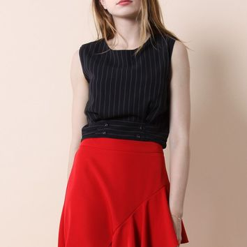 Classic Stripes Cropped Top in Black