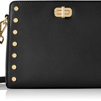 Michael Kors Women's Michael Kors Sylvie Leather Messenger Bag With Studs Black