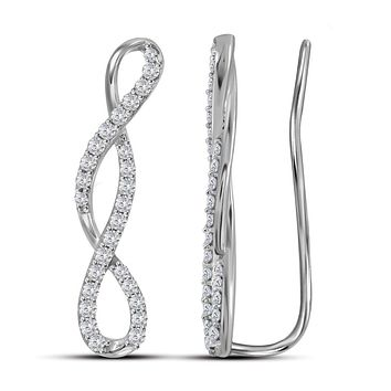 10kt White Gold Womens Round Diamond Infinity Climber Earrings 1/2 Cttw