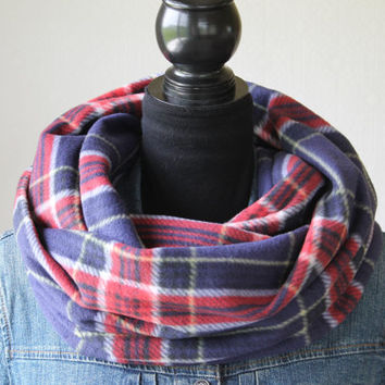Navy Blue Tartan Plaid Scarf, Plaid Infinity Scarf, Fleece Infinity Scarf in Red, Fall Winter Fashion, Christmas Gift