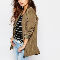 Only | Only Longline Zip Front Bomber Jacket at ASOS