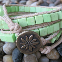 Leather triple wrap bracelet with lime sherbet chalk turquoise beads and metal button