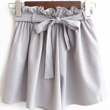 Wide Leg Chiffon Pleated Shorts with Bow
