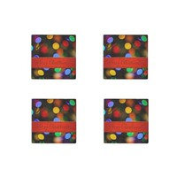 Multicolored Christmas lights. Add text or name. Stone Magnet