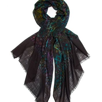 Bohomonde Vivika Shawl, 100% Wool Watercolor Ikat Print Scarf