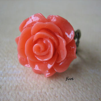 Coral Rose on Antique Brass Filigree Ring - Adjustable - Jewelry by FIVE