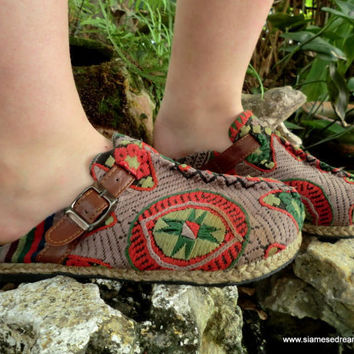 Earthy Laos Embroidered Vegan Slides Clogs by SiameseDreamDesign