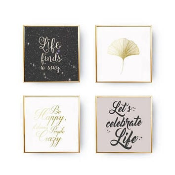 SET of 4 Prints, Life Quotes Set, Space Art, Let's Celebrate Life, Ginkgo Leaf, Motto Print, Home Decor, Gold Foil Print, Calligraphy Prints