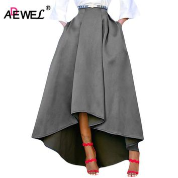 ADEWEL Fashion Autumn Winter Women Skirt Vintage Big Hem High-Low Hem Pleated Maxi Skirts