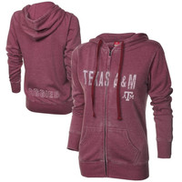 Texas A&M Aggies Ladies Shaka Burnout Full Zip Hoodie - Maroon
