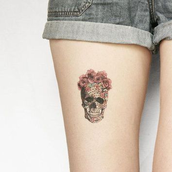 Geometrics Sugar Skull With Rose Floral Crown Temporary Tattoo   Large