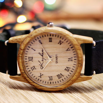 Wooden watch, womens wristwatch, oak