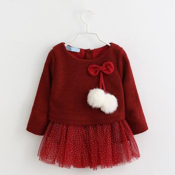 Baby Long Sleeve Dress Baby Girls Dresses Winter Gown Baby Children Knitted Dress Autumn Party Princess