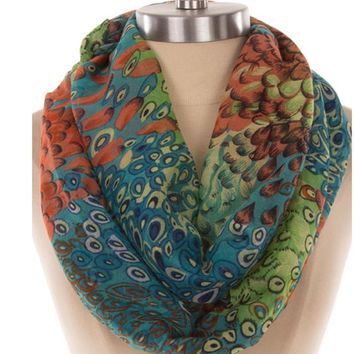 Peacock Women Scarf Feathers Infinity Scarf Lightweight Scarves - By PiYOYO