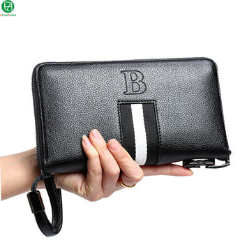 Unique design leather man bag Combination lock men wallets business brand large men clutch long Metal zipper men leather purse