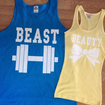 Free Shipping for US Beauty And The Beast Matching Couples Tank Tops/Shirts:Turquoise and Yellow(white decal) Different Version