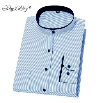 DAVYDAISY Men Mandarin Collar Long Sleeve Classic Striped Slim Fit Dress Shirt