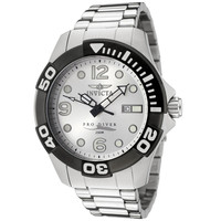 Invicta 0444 Men's Pro Diver Silver Dial Stainless Steel Bracelet Dive Watch