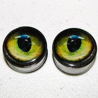 "Black Cat Eye Plugs - 1 Pair - Sizes 2g, 0g, 00g, 7/16"", 1/2"", 9/16"", 5/8"", 3/4"", 7/8"" & 1"""