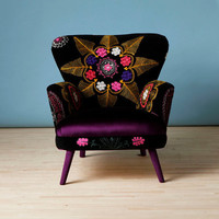 Patchwork armchair with Suzani and dark purple velvet fabrics